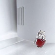 Charming Hand made Sterling Silver & Red Carnelian Barney Owl Charm Pendant